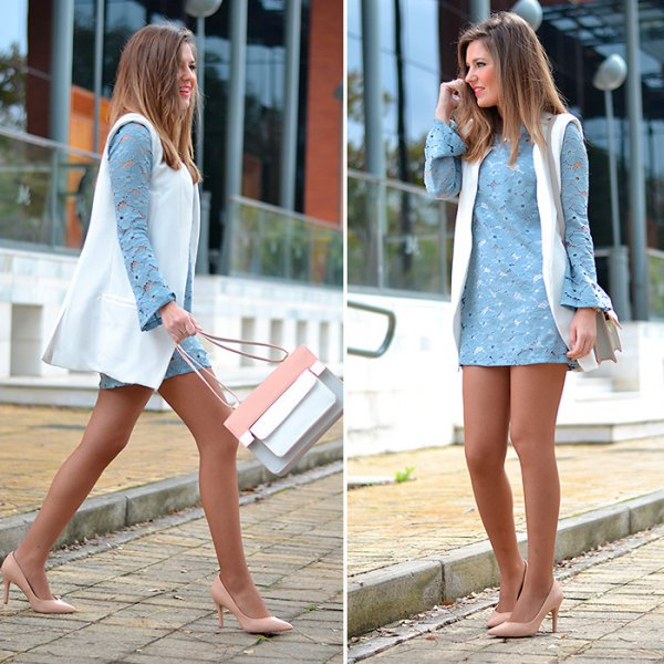 sky blue bell sleeve mini shift dress with white long vest
