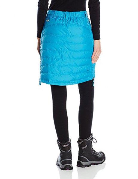sky blue knee length down skirt with black leggings