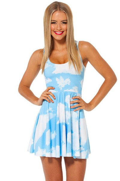 sky printed mini skater tank dress