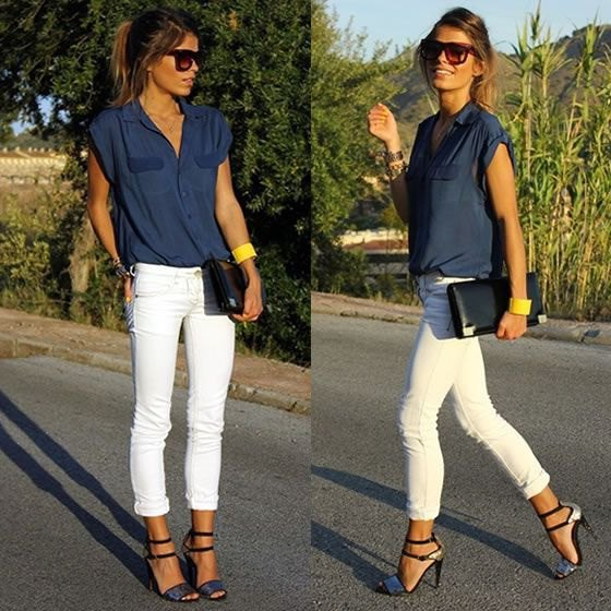 sleeveless butotn up shirt with white skinny cuffed jeans