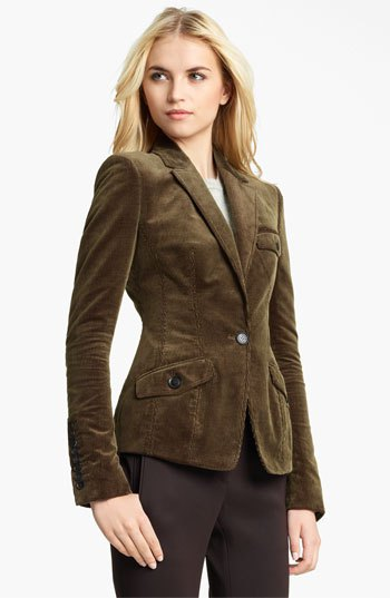 slim cut brown corduroy blazer with black chinos
