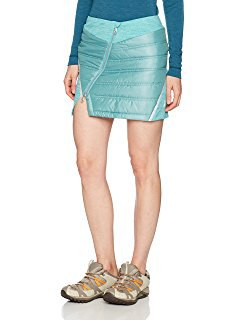 teal mini down skirt with slit