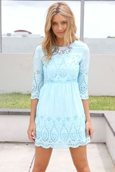 three quarter sleeve fit and flared boho style lace mini dress