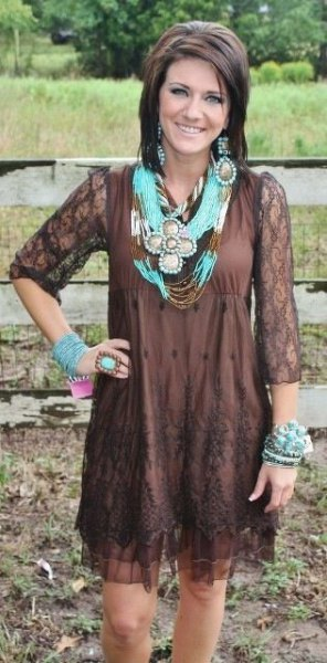 three quarter sleeve lace chocolate brown mini shift dress