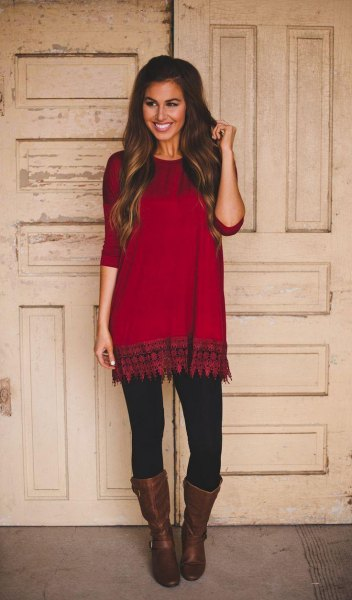 tribal printed red and black tunic with mid calf leather boots