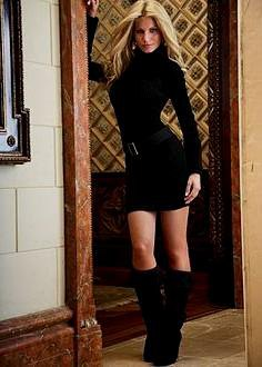 turtleneck mini bodycon dress with knee high boots