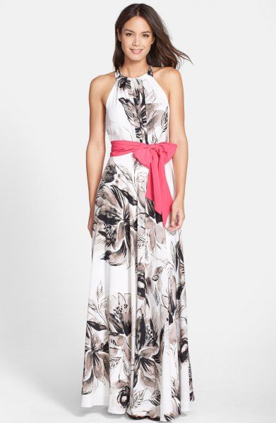 white and black floral printed ribbon tie waist maxi dress