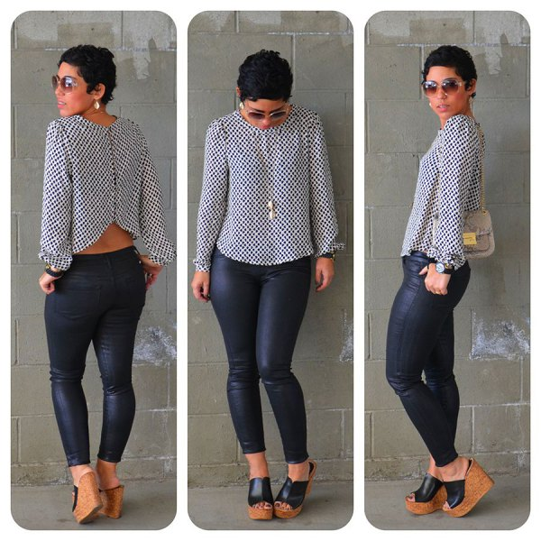 white and black polka dot cropped back blouse with coated skinny jeans