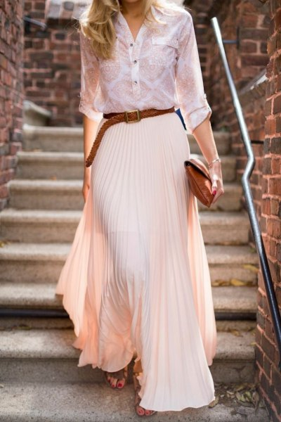 white and blush printed button up shirt with maxi pleated skirt