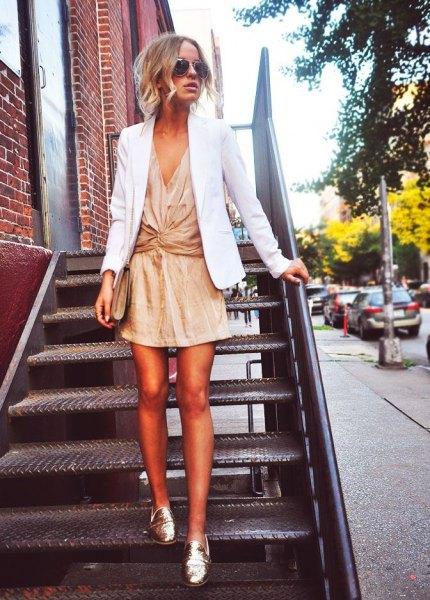 white blazer with mini gold lame wrap dress