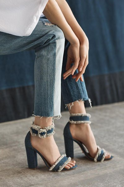 white blouse with ankle jeans and denim ankle strap heels