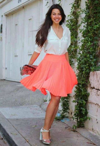 white button up shirt with hot pink mini pleated skirt