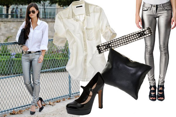 white button up shirt with silver skinny jeans