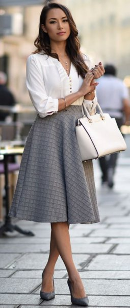white button up v neck blouse with grey plaid midi flared skirt