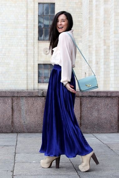 white chiffon blouse with blue maxi velvet skirt