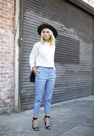 white crew neck blouse and black felt hat
