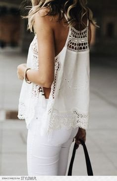 white crochet lace tank top with matching skinny jeans