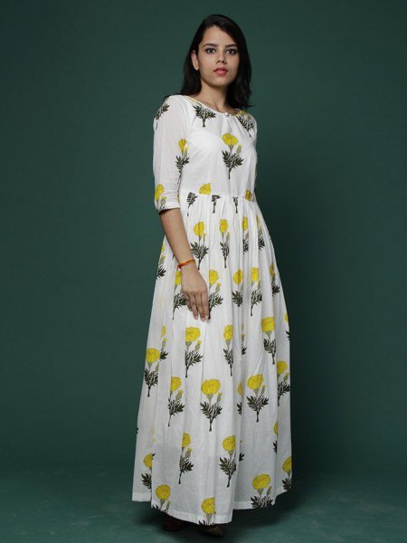white floral printed half sleeve maxi flared cotton dress