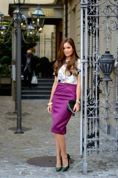 white floral short sleeve top with purple high waisted midi skirt