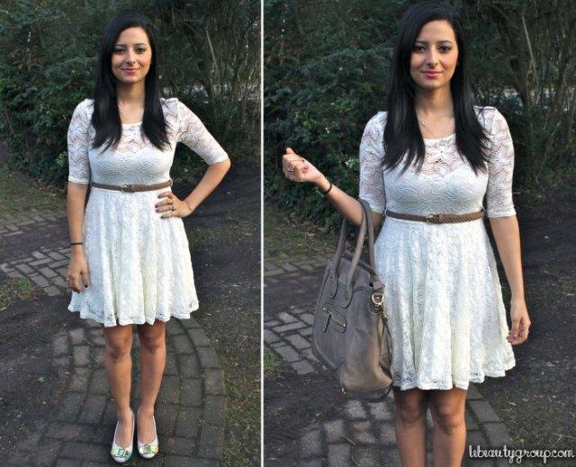 white half sleeve knee length belted dress