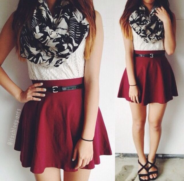 white lace sleeveless blouse with burgundy belted skater skirt