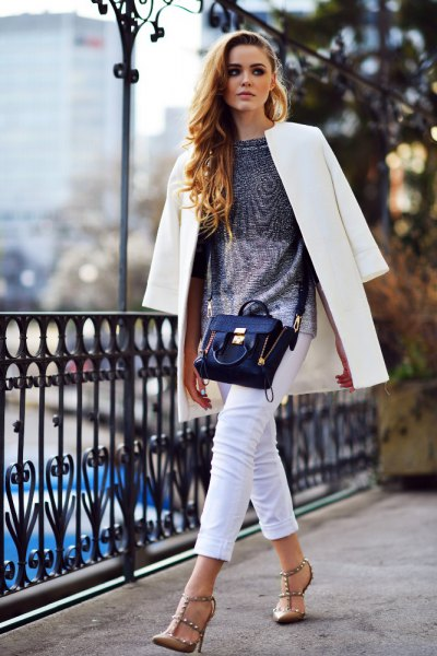 white long blazer with silver top and bronze heels