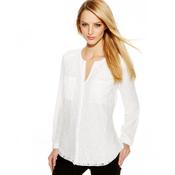 white no collar shirt with black jeans