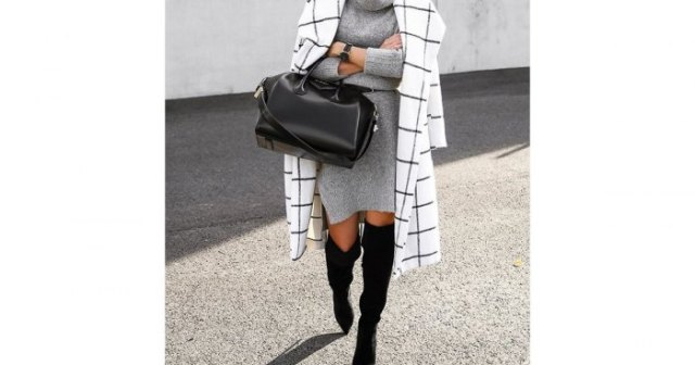 white plaid longline wool coat with black thigh high sweater boots
