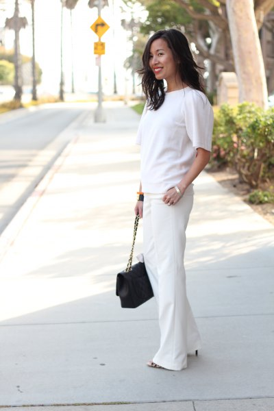 white short sleeve sweater with wide leg dress pants