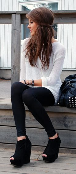 white sweater dress with leggings and black open toe wedge booties