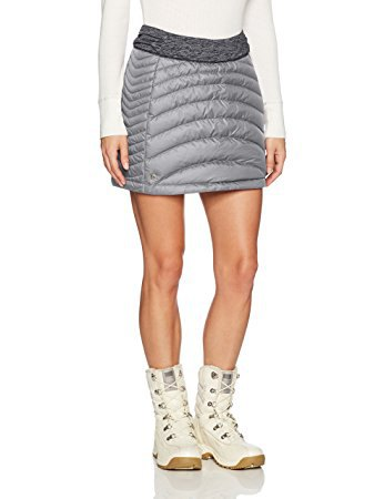 white sweater with light grey mini down skirt