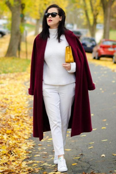 white turtleneck knit sweater with long coat