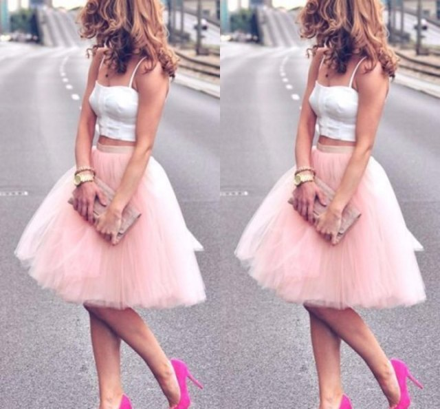 white two piece knee length tutu dress
