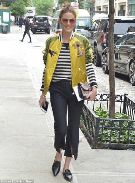 yellow and green bomber jacket with black and white striped long sleeve tee