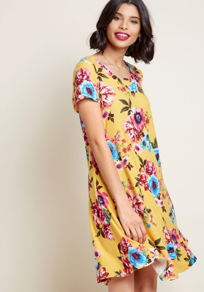 yellow and light blue floral printed mini dress