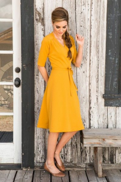 yellow half sleeve wrap midi flared dress