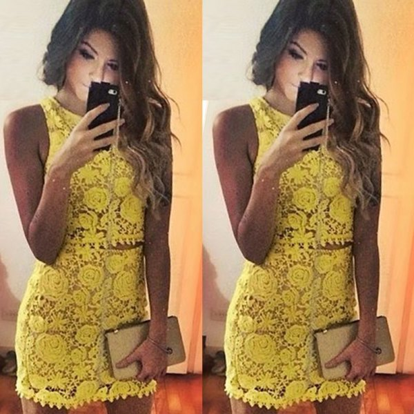 yellow lace mini two piece sleeveless mini dress