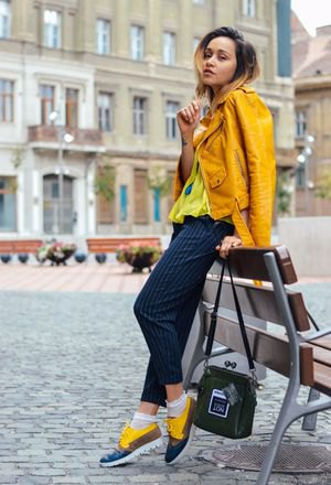 yellow leather jacket with matching sneakers
