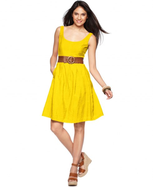 yellow scoop neck belted flared knee length dress