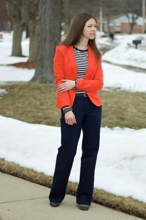 best blazer with black and white striped long sleeve tee and wide leg pants