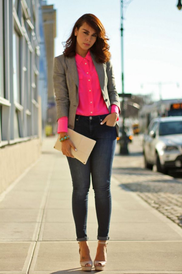 pink button up shirt with gray vest