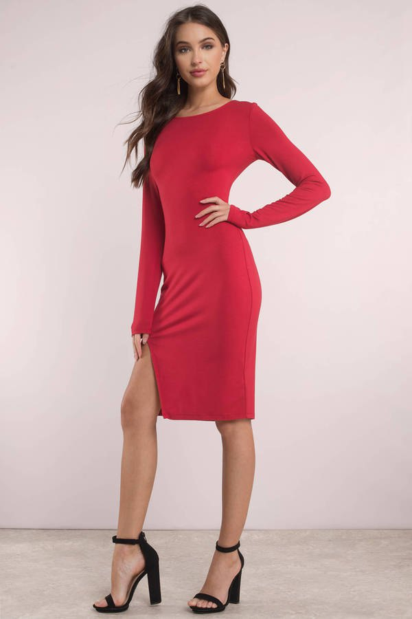 best red slit dress outfit ideas