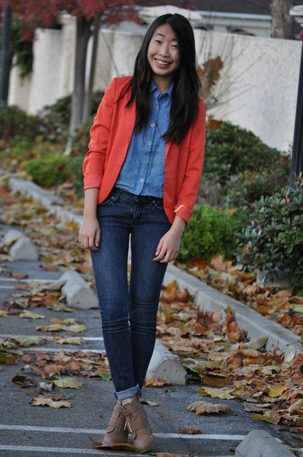 best orange blazer jacket with chambray shirt and dark jeans