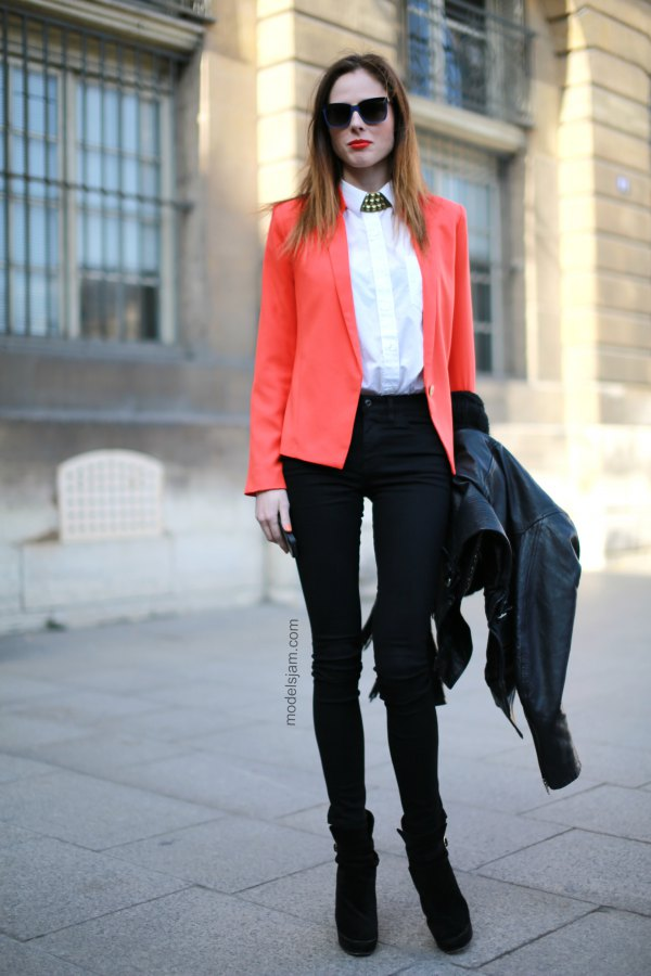 best orange blazer with white button up shirt and high rise skinny jeans