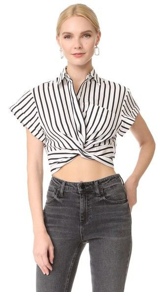 black and white cap sleeve cropped twist front top with grey jeans