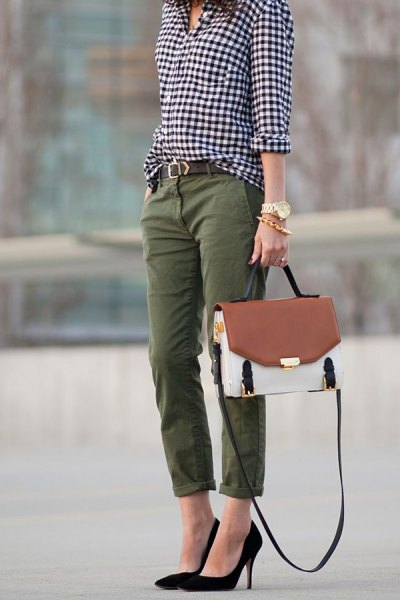 black and white checkered button up shirt with straight leg green cuffed pants
