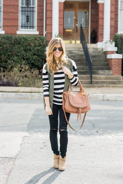 black and white striped long sleeve sweater with ripped jeans
