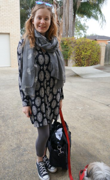black and white tribal printed dressy tunic top with grey scarf
