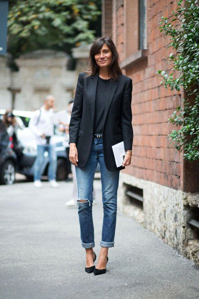 black blazer with crew neck sweater and cuffed jeans