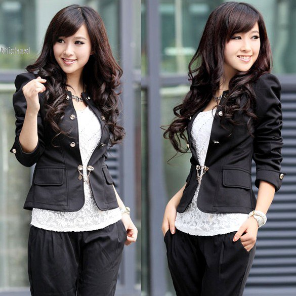 black fitted cotton blazer with lace top and relaxed fit pants